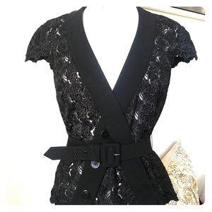 BEBE Black Lace Belted Top/Jacket